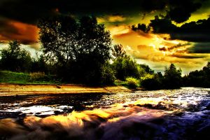 Awesome Sunset Above The River Stream by SaNio4k