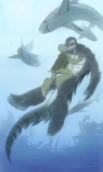 Diving with Sharks by JazzTheTiger