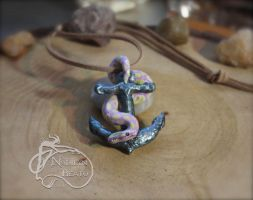 Coral Glow Banana Ball Python on Anchor Pendant by NadilynBeato
