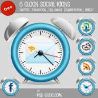 6 Free Clock Social Icons by PsdDude