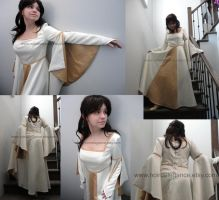 Medieval golden and ivory dress by Wilya12
