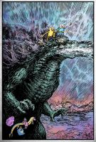 Godzilla Adventure Time watercolored by stvnhthr