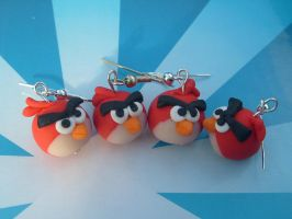 Red Angry Bird Army Earrings by PossumPip-Creations