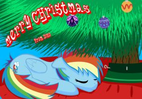 Rainbow Dash Christmas Card by Schadenpony