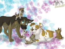 Bulldog and Shepard family by AmberJF