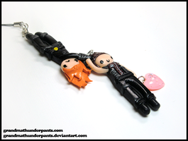 Black Widow and Hawkeye Phone Charm by GrandmaThunderpants