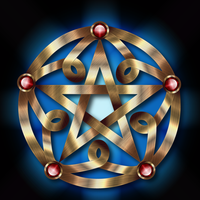 Golden Pentacle with ruby by IllustratorG