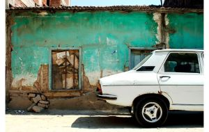 half car, turquoise wall by cansrox