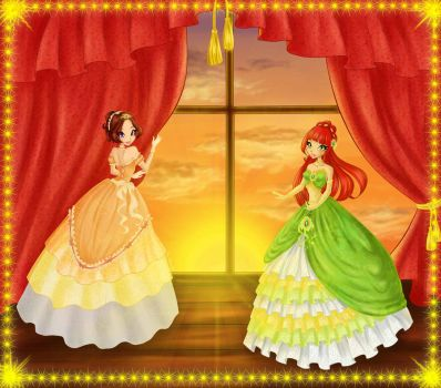 Adelia and Scarlette in a ball gown by ICassidyI