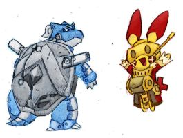 Spiral Pokemon, Blastoise and Plusle by Da-Blue-Monkey