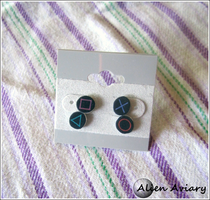 Playstation Button Earrings by alienaviary