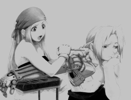 Winry and Edward by andieblevins