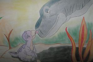LBT- Littlefoot and mother by Deadly-sins-Snape