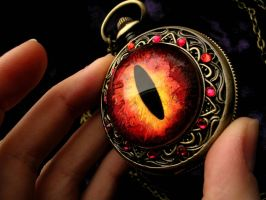 Fire Dragon Eye Pocket Watch - Sauron Inspired by LadyPirotessa
