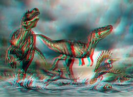 Albertosaurus Ichthyornis 3D Red Cyan Anaglyph by Fan2Relief3D