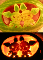 Pichu Brothers on a Watermelon by johwee