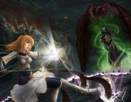 Battle of Demacia: duel of magic by Izarian-Hanar