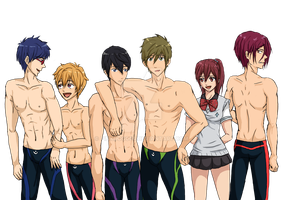 Free! characters (finished) by pinkdog004