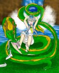 The girl with a dragon tickling her by kingofthedededes73