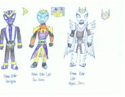 Kamen Rider Light forms II and Darkspine by KivaEnergyArms