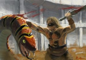 Conan vs snake by I2ebis