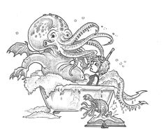Cthulhu in the bath tub by alexine-pankhurst