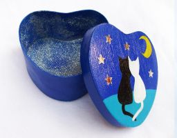 Cats in Love - Painted Heart Shaped Box by DeadLulu