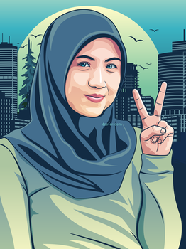 Sweet Hijab Girl in Turquoise Vector by ndop