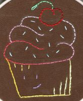 Cupcake Embroidery by Zaraphena