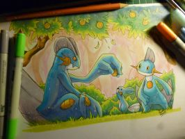swampert , mudkip and ,marshtomp by KenronToqueen
