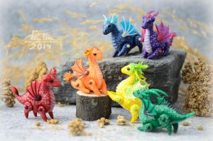 Mini Dragons - Rainbow by dallia-art