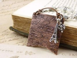 French Letter Etched Copper Necklace by atwistofwhimsy