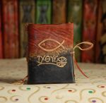 Christian Fish Leather Book by gildbookbinders