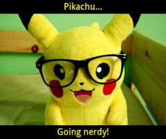 Pikachu going nerdy by Pikathehedgehog