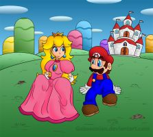 Just Mario and Peach by Gabasonian