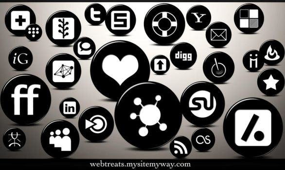 3D Black Button Social Media by WebTreatsETC