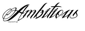 Ambitious tattoo font by symbolofsoul