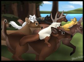 Running with the deer by brownwhisker