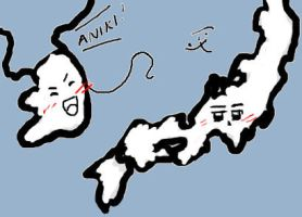 Korea and Japan map fun by MidiSaya