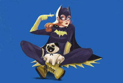 New Batgirl and Pug by claudiall