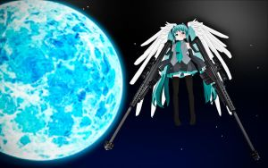Winged Miku with M82's 3dcg by thechevaliere