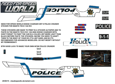 NFSW Police Charger Stickers - Maisto 1 24 RC by claudespeedlc