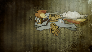 Wallpaper: Steampunk Rainbow Dash by MadBlackie