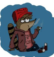 Rigby Smoking by GirlinLuvAnime
