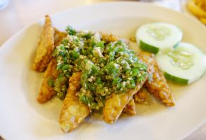 Tempeh with Green Chilli by nosugarjustanger