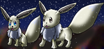 Prism and Snow Prism The Shiny Eevee Twins by DragonessBlue