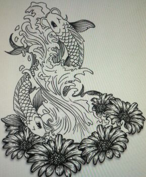 Pisces Sign Tattoo Design / Black and White by Push-It-Art