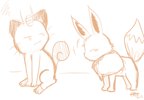 Meowth and Eevee by Celebi9