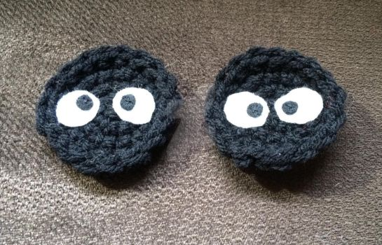 Soot Sprite inspired hair clips or pins by YarnAlchemy
