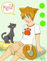 Cat-boy and his cat by Sauma